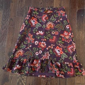 LOFT Floral A Line Skirt with Ruffle